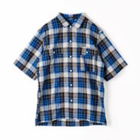 ヴィタル ムッシュ ニコル vital MONSIEUR NICOLE チェック柄半袖シャツ (29グレー)