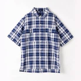 ヴィタル ムッシュ ニコル vital MONSIEUR NICOLE チェック柄半袖シャツ (67ネイビー)