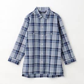 ヴィタル ムッシュ ニコル vital MONSIEUR NICOLE インディゴ7分袖チェック柄シャツ (60ブルー)