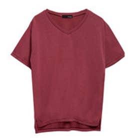 リエディ Re:EDIT VネックベーシックTシャツ (ワインレッド)