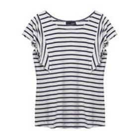 リエディ Re:EDIT [リエディ]極とろみショルダーフリルTシャツトップス/カットソー・Tシャツ (ホワイト×ネイビー)