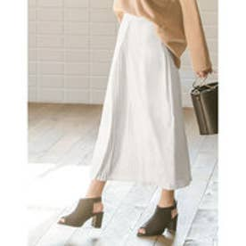 リエディ Re:EDIT フロントプリーツミディアム巻きスカート (ホワイト)