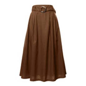 リエディ Re:EDIT 綿麻ベルト付きカラーフレアスカート (ブラウン)