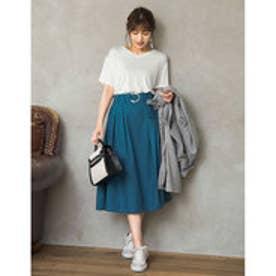 リエディ Re:EDIT 綿麻ベルト付きカラーフレアスカート (ブルー)