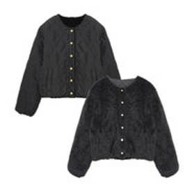 リエディ Re:EDIT リバーシブルキルティングボアショートジャケット (ブラック)