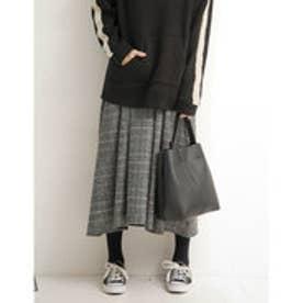 リエディ Re:EDIT ウールタッチ2パターンチェック柄バックロングフレアスカート (グレンチェックブラック)