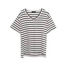 リエディ Re:EDIT 極とろみVネックTシャツ (ホワイト×ブラック)