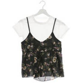 スピーガ SPIGA 小花柄キャミ付TシャツSET (クロ)
