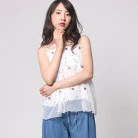 スピーガ SPIGA チュール花刺繍ギャザーキャミ (シロ)