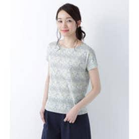 ニューヨーカー NEWYORKER 【リバティプリント】フレンチスリーブTシャツ(コットン100%) (グリーン)