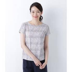 ニューヨーカー NEWYORKER 【リバティプリント】フレンチスリーブTシャツ(コットン100%) (パープル)