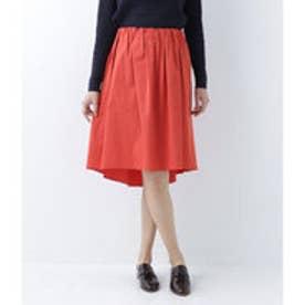 ニューヨーカー NEWYORKER 【ストレッチ】テールヘムタックギャザースカート (ピンク)