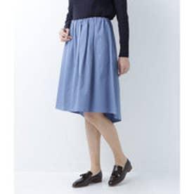 ニューヨーカー NEWYORKER 【ストレッチ】テールヘムタックギャザースカート (ブルー)