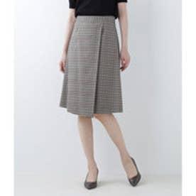 ニューヨーカー NEWYORKER モカチェック ラップ風デザインスカート (キャメル)