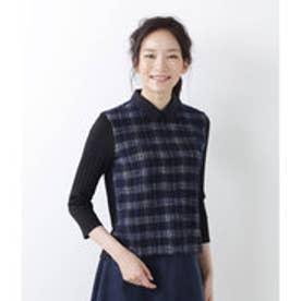 ニューヨーカー NEWYORKER ジャカードチェック シャツ襟付きプルオーバー (ネイビー)