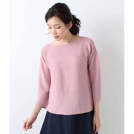 ニューヨーカー NEWYORKER 【ホールガーメント】ガーター編み ニットプルオーバー(ウール100%) (ピンク)