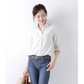 ニューヨーカー NEWYORKER 【襟ワイヤー入り】ハンサムFit コットンリネンストライプシャツ (ホワイト)
