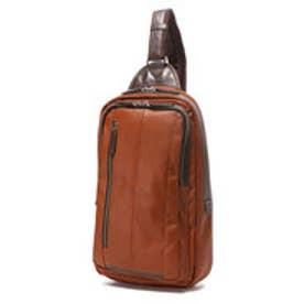オティアス Otias 大きめフェイクレザー×ツヤ白化合皮 A4サイズ縦型ボディバッグ/ワンショルダーバッグ(キャメル)