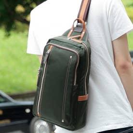 オティアス Otias 【日本製】高密度ナイロンツイル×レザー 大きめボディバッグ/ワンショルダーバッグ ヌメ革  A4収納可(OLV)