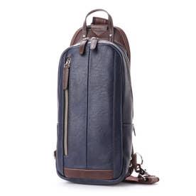 オティアス Otias フェイクレザー×ツヤ白化合皮 縦型ボディバッグ/ワンショルダーバッグ (ブルー)