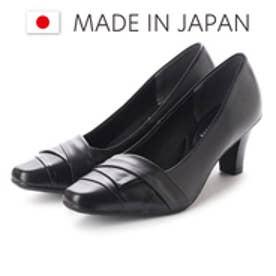 ドンナリスペット donna rispetto 日本製/6cmヒール本革切り替えパンプス (BLACK)