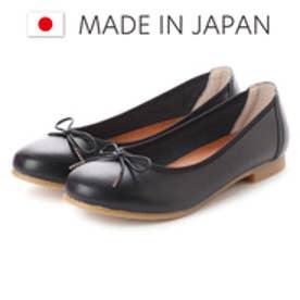 ラブ ピクル RUB PICLE 日本製/ナチュラル人工皮革リボンデザインフラットシューズ (BLACK)