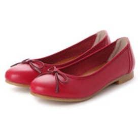 ラブ ピクル RUB PICLE 日本製/ナチュラル人工皮革リボンデザインフラットシューズ (RED)