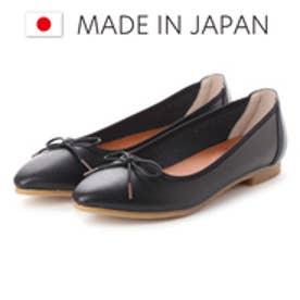 ラブ ピクル RUB PICLE 日本製/ナチュラル人工皮革リボンデザインポインテッドシューズ (BLACK)