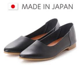 ラブ ピクル RUB PICLE 日本製/ナチュラル人工皮革Uカットポインテッドシューズ (BLACK)