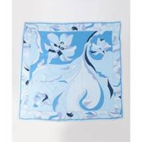 23区 Geometric Flower Print スカーフ (ブルー系)