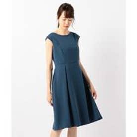 23区 ソフトダブルベネシャン ワンピース ドレス (ピーコックグリーン系)