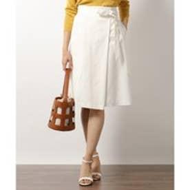 23区(大きいサイズ) 【洗える】リネンレーヨンツイル ラップスカート (ホワイト系)