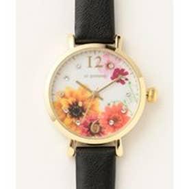 any SiS フラワーモチーフ ウォッチ(腕時計) (ブラック系)