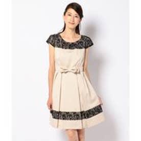 any SiS 【リボンベルト付き】タックポイントレースミックス ドレス (ベージュ系)
