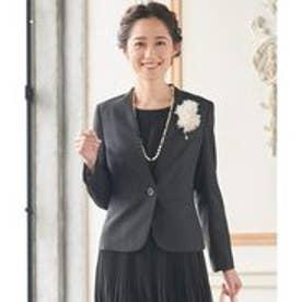 any SiS 【洗えるスーツ】ウォッシャブルT/Wスーツ ノーカラージャケット (ブラック系)
