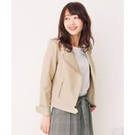 any SiS 【本革】リアルラムノーカラー ライダースジャケット (ベージュ系)