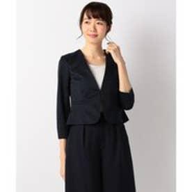 any SiS 【洗える】レディノーカラージャージ ジャケット (ネイビー系)