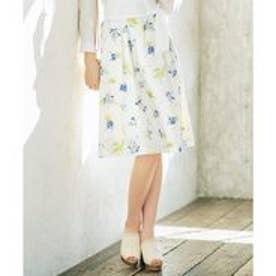any SiS 【洗える】アブストラクトフラワープリント スカート (アイボリー系)