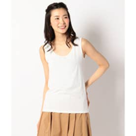 any FAM ラメ刺繍 タンクトップ (ホワイト系)