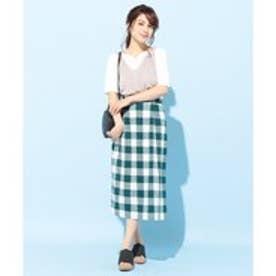 any FAM 麻混ブロックチェック スカート (グリーン系3)