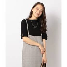 any FAM テレコボートネック5分袖 Tシャツ (ブラック系)