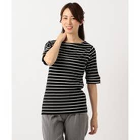 any FAM テレコボートネック5分袖 Tシャツ (ブラック系1)