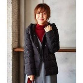 any FAM 【洗える】ヘリンボン&グログラン ダウンコート (ブラック系)