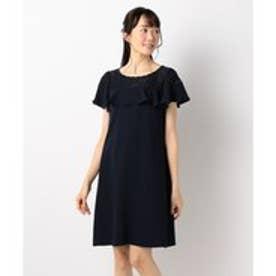Feroux 【手洗い可】クラシカルラッフル ドレス (ネイビー系)