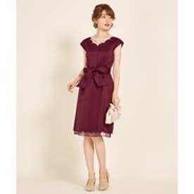 Feroux スカラップグログラン ドレス (ワイン系)