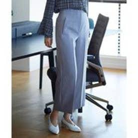 ICB 【洗える】Double Cloth ハイウエストクロップドパンツ (ライトグレー系)