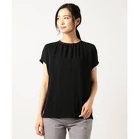 ICB 【初秋カラー夏素材】Knit Combi Smooth カットソー (ブラック系)