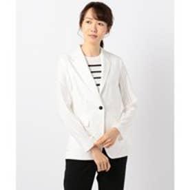 ICB(大きいサイズ) 【洗える】Mixed Cotton Stretch テーラードジャケット (ホワイト系)