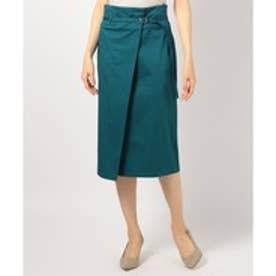 ICB(大きいサイズ) 【ストレッチ機能付き】Stretch Cotton Satin スカート (ダークグリーン系)