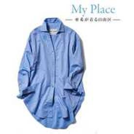 自由区 【マガジン掲載】TIMELESS イタリアCANGIOLI ロングシャツ(検索番号C46) (ブルー)